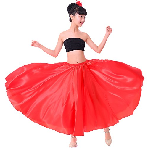 Girls Stretched Flowy Satin Long Skirt for Princess Costume Dress up Halloween Flamenco Dance Performance (L, red)