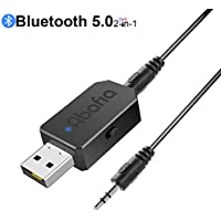 Abafia Adaptador Bluetooth USB 2-en-1, V5.0 Receptor Bluetooth y Transmisor Bluetooth, con Audio Inalámbrico 3.5MM Cable y LED Indicator, para TV, PC, Audio del Automóvil