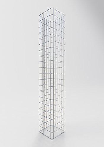 GABIONA befüllbare Steinkörbe Säulen Gabione eckig I Drahtkörbe für Steine zur Gartengestaltung Maschenw. 5x10cm I 4mm Gabionenkörbe galvanisch verzink I Steinkorb Säule 200cm hoch 32 x 32 cm
