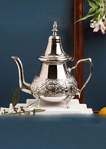 Tetera de plata marroquí Maghrebi by Sheineen, hecha a mano, auténtica tetera tradicional marroquí grabada, acero inoxidable, Plateado, 6