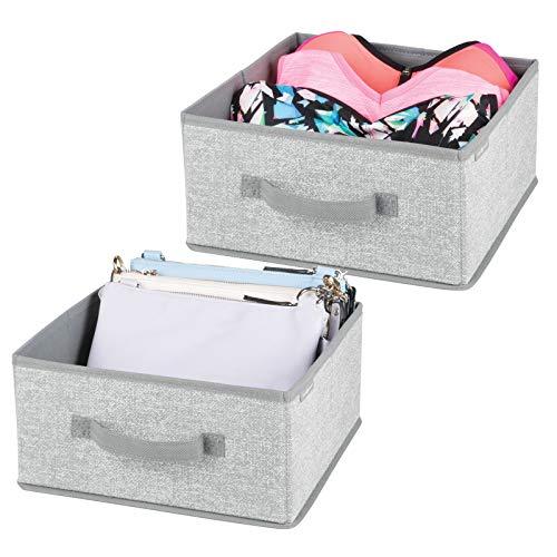 mDesign Juego de 2 cajas organizadoras para ordenar armarios – Organizadores para armarios de polipropileno – Cajas de tela para guardar ropa, mantas, accesorios y más – gris
