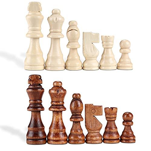 HuPop Schachfiguren aus Holz - Internationale Schachfiguren nur ohne Brett 8,9 cm Königsfiguren Schachfiguren Schachfiguren Spielfiguren zum fehlender Stücke (8,9 cm)