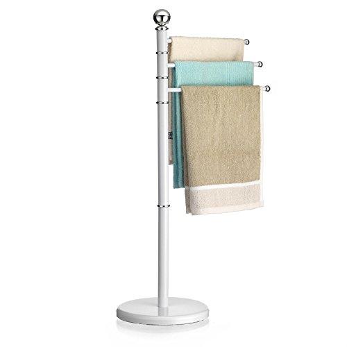 CARO-Möbel Handtuchhalter Petra Handtuchständer Badetuchständer mit 3 beweglichen Handtuchstangen, Metallgestell in weiß lackiert
