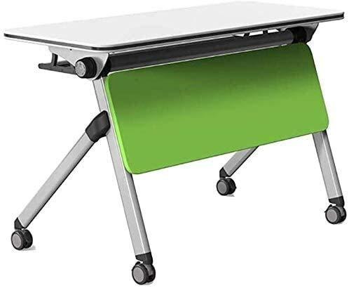 Leilims Tavoli Pieghevoli Flip Top Steel Frame Informatica Scrivere Training Ufficio Sala Studio in Aula con Ruote (Color : Gray+Green, Size : 120 * 60 * 75CM)