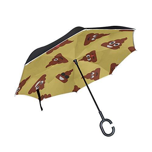 Double Layer Inverted Reverse Umbrella Auto Niedlicher emotionaler Poop Ausdruck Emoji Faltschirme Kompakter Leichter Wende-Regenschirm für Frauen Winddichter UV-Schutz für Regen mit C-förmigem Ha