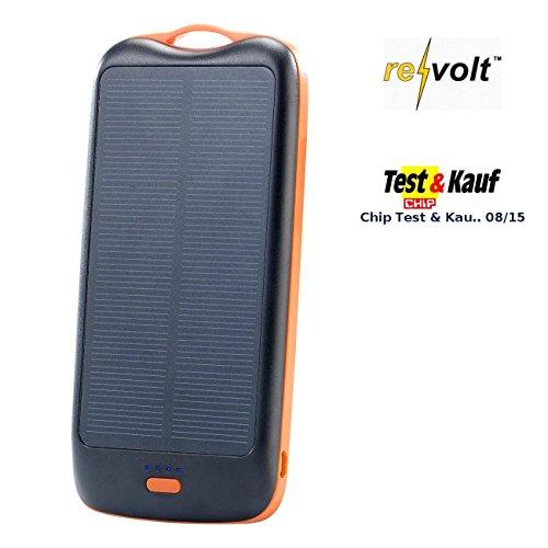 revolt Zusatzakku: Solar-Powerbank PB-100.s mit 10.000 mAh, Ladestand-Anz, 2X USB (Solar Powerpack)