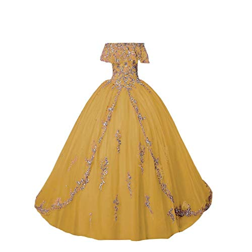Fannydress Quinceanera Dresses Off The Shoulder Women Embroidered Ball Gown Sweet 16 Dress Prom Light Gold 22plus (Apparel)