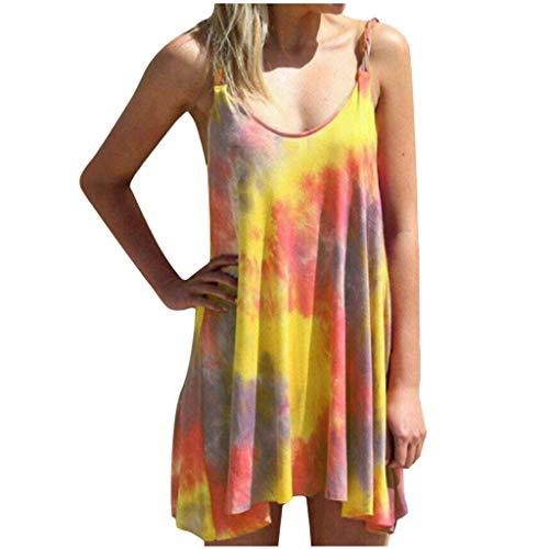 Fcostume Sommerkleid Kleider Damen Elegant Casual Rundkragen Strandkleider Einfarbig Blumen A-Linie Kleid Boho Knielang Kleid