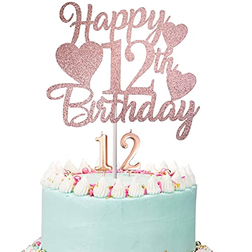 Happy 12th Birthday Cake Topper, Rose Gold Glittery 12th Birthday Cake Topper, 12th Birthday Cake Topper with Number 12 Candles for Girl 12th Birthday Party Decorations