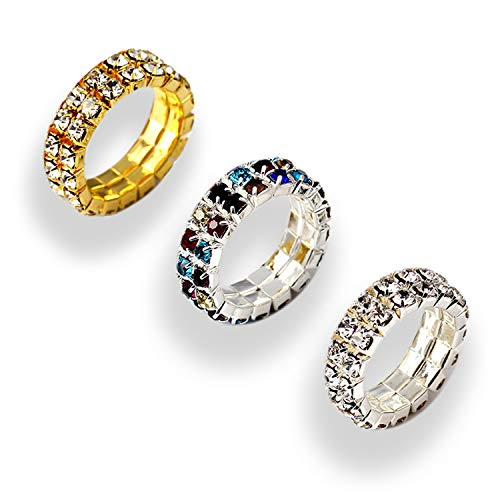 PPX 6 Pcs Rhinestone 1 Rows Crystals Inlaid Paved Jewelry Stretch Elastic Finger Ring for Women Girls-Gold,Silver, Colorful