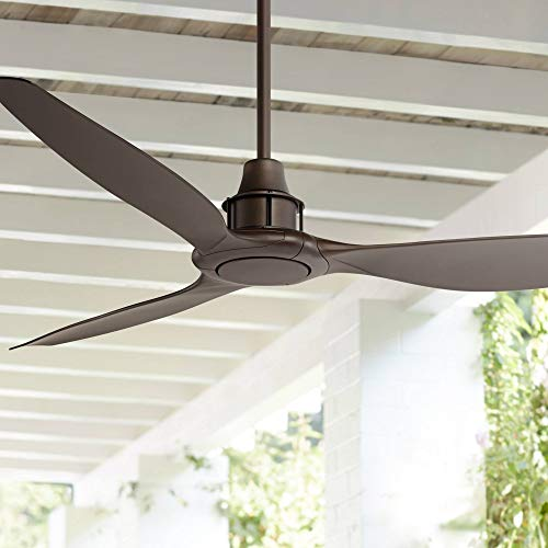 58' Interceptor Modern Outdoor Ceiling Fan with Remote Oil Rubbed Bronze Brown Damp Rated for Patio Porch - Casa Vieja