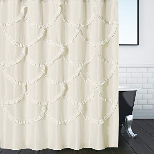 DOSLY IDÉES Beige Ruffle Fabric Shower Curtain for Bathroom,Mermaid Pattern,Farmhouse,Country Rustic,Cute,Washable and Waterproof,72x72 Inch Long