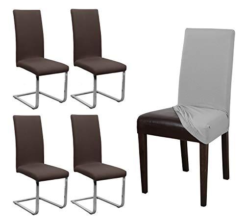 BEAUTEX 4er Set Jersey Stuhlhusse, elastische Stretch Husse Baumwolle Bi-Elastic, Farbe wählbar (Dunkelbraun)