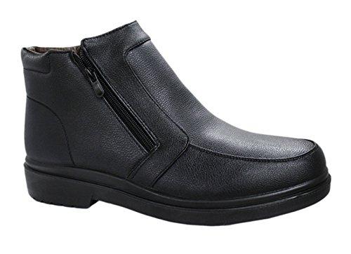 AK collezioni Scarpe stivaletti uomo casual invernali sneakers polacchine con pelliccia interna numero 40 41 42 43 44 45 (43, nero)