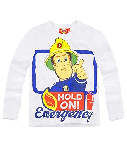 Sam el bombero Chicos Camiseta Mangas largas - Blanco - 128