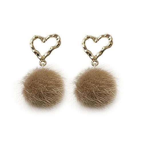 Xlin Ohrringe aus 925er-Sterlingsilber mit Nadel, mittelgroß, Metall, Liebeskugel-Ohrringe, Temperament, einfache Ohrringe (Farbe: Ohrstecker)