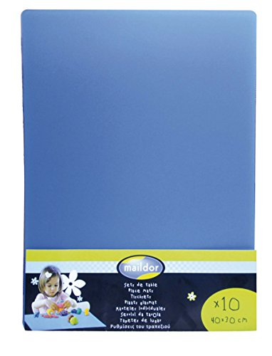 Maildor 302045MD - Un lot de 10 sets de table 40x30 cm en polypropylène bleu