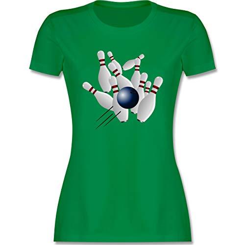 Bowling & Kegeln - Bowling Strike Pins Ball - S - Grün - Kegeln Geschenk - L191 - Tailliertes Tshirt für Damen und Frauen T-Shirt