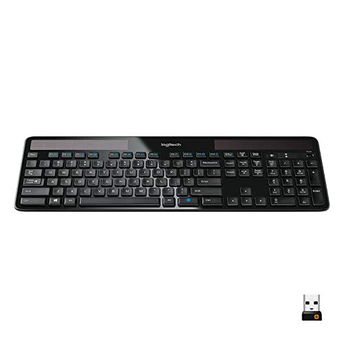 Logitech K750 Wireless Solar Keyboard for Windows Solar Recharging Keyboard 2.4GHz Wireless - Black