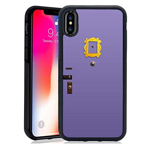 for iPhone Case-Friends Purple Door Design-Soft TPU+Luxury Tempered Mirror Protective for iPhone Case (for iPhone X/XS)