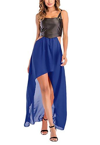 Zomerjurk voor dames, elegant, imitatieleer, chiffon jurk, lange mouwloos, zonder schouders, mouwen, modieus, kleding, modieus, vooraan, korte achter, lange jurk, maxi-jurk, zomer