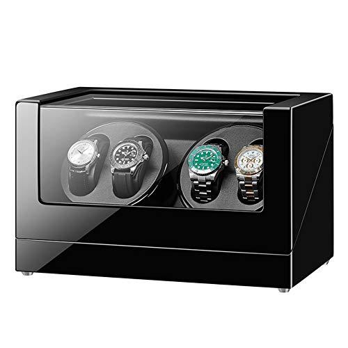 ZIXIXI Cajas giratorias 4 Enrollador De Reloj para Automático Relojes con Motor Extremadamente Silencioso De Gran Capacidad Madera con Acabado para Hornear Cuero PU Negro