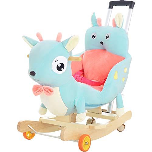 Cheval à bascule pour enfants en bois massif Cheval à bascule bébé Âge avec musique Petit fauteuil à bascule Jouet bébé avec roue universelle avec poussoir