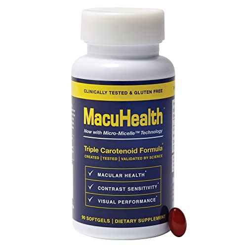 MacuHealth Triple Carotenoid Formula for Adults - Eye Vitamins Lutein and Zeaxanthin, Meso-Zeaxanthin for AMD and Dry Eyes - Complete Essentials Vitamin for Eyes (90 Softgels, 3 Month Supply)