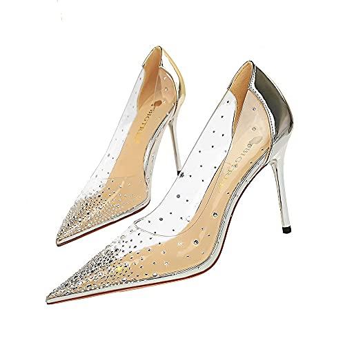 Estilo Europeo y Americano Moda Sexy Night Club Zapatos de Tacón Alto Stiletto High Heels Transparente Hueco Sparkling Rhinestone Singles Zapatos de Mujer 34-43 EU