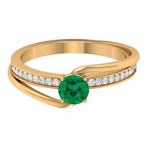 Anillo de 5 mm de turmalina verde, anillo de diamante HI-SI, anillo de compromiso de bypass, anillo solitario con piedra lateral, 10K Oro amarillo, Size:EU 65