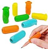 HOMMWINS 8 asas para lápiz, ayuda para escribir para niños, soporte para bolígrafos, ergonómico para lápiz, soporte para lápiz, soporte de silicona para niños, zurdos y diestros (multicolor)
