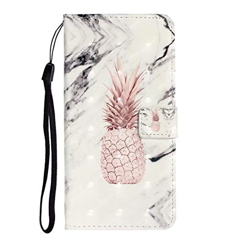 Big Save! Samsung Galaxy Note 10 Case, 3D Shockproof PU Leather Flip Notebook Wallet Case with Magnetic Closure Kickstand Card Holder ID Slots Slim Fit Soft TPU Bumper Protective Cover Pineapple marble