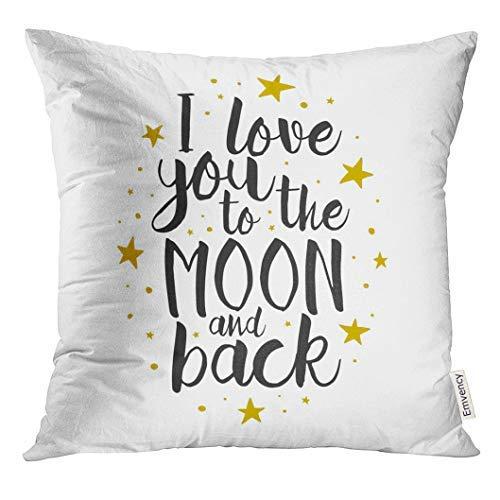 Funda de cojín con texto en inglés 'I Love You to The Moon and Back' con frase inspiradora en inglés «I Love You to The Moon and Back», 45 cm x 45 cm, decoración del hogar, para sofá, adolescente, niña