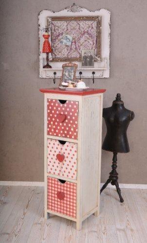 Vintage Kommode Glückspilz Rot mit weissen Punkten Schubladen ETG062 Palazzo Exklusiv