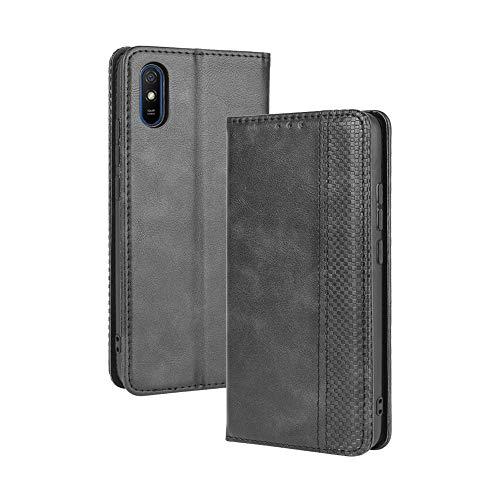 LAGUI Compatible para Funda Xiaomi Redmi 9AT, Carcasa Tipo Libro Protector Magnético y Plegable de PU Soporte de Ranuras para Tarjetas, Negro