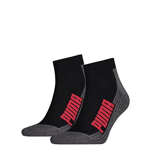 PUMA Herren Socken CUSHIONED QUARTER 2P, black/white/red, 35-38, 161041001