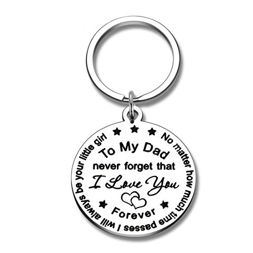 Dad Gifts Keychain from Daughter Father's Day Birthday Christmas Gift for Father Daddy Never Forget I Love You Forever I Will Always Be Your Little Girl Thanksgiving Day Valentine Present to Papa