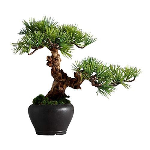 BHBXZZDB Árbol de bonsái Artificial Bonsái de Pino Negro japonés Artificial Decoración de Escritorio Planta Verde Falsa en Maceta Maceta de cerámica Negra para Interior Decoración de Escritorio de of