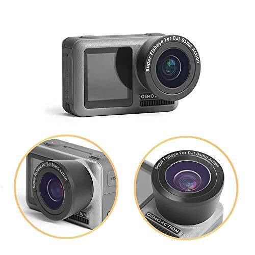 Linghuang OSMO Action Fischaugen Objektiv Kamera Zubehör 180 ° Weitwinkel Objektiv Macro HD Tragbares Anti-Shake Kamera Lens Kompatibel mit DJI OSMO Action