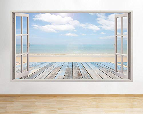 LHHYY Pegatinas dePared Pegatinas de pared Sea Ocean Sand Beach Decal Poster 3D Art Vinyl Room A198