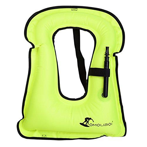 Portable Gilet Gonfiabile boccaglio, Portable Gilet Gonfiabile boccaglio per Immersioni in Tutta Sicurezza Unisex Adulto (40-100KG) (Veste_Giallo)