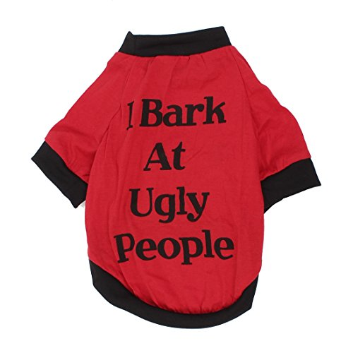 Sourcingmap Letter Patroon Mouwen Huisdier Hond Poedel T-Shirt kleding, Groot, Zwart/Rood
