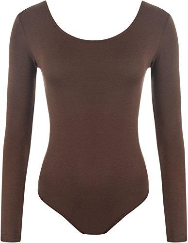 Preisvergleich Produktbild WearAll - Damen Body elastisch Langarm Bodysuit Top - Braun - 36-38