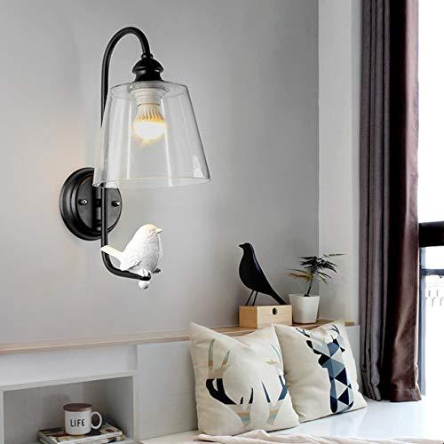 RAQ Moderne hars vogel wandlamp, 1 licht glazen lampenkap wandlampen licht huis decoratie kunst voor slaapkamer gang hotel zwart