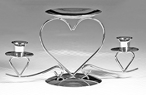 Wedding Accessories, Unity Candle Stand, Triple Heart, Silver, 10.5-Inches x 5.5-Inches