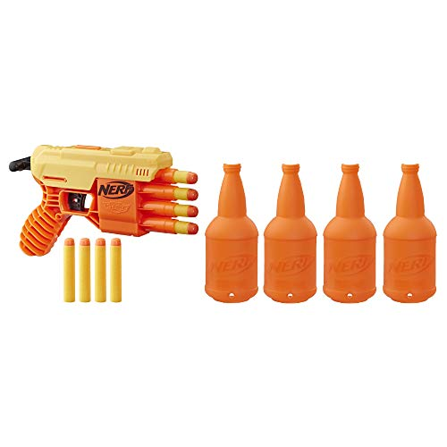 Nerf Fang QS-4 Targeting Set -- 13-Piece Alpha Strike Set Includes Toy Blaster, 4 Half-Targets, and 8 Official Elite Foam Darts (Multicolour)