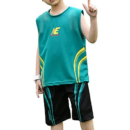 winying Jungen Sport T-Shirt Kurzarm/Ärmellos Trikot Tank Top und Kurze Hose Sommer Shorts Fußball Basketball Bekleidungsset Training Laufen Outfits Grün C 158-164