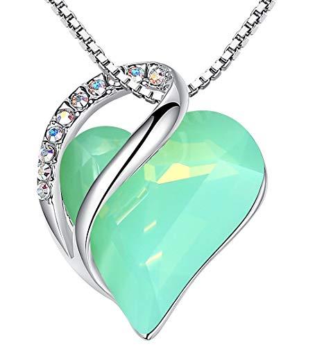 Leafael Infinity Collar de corazón de amor, ópalo de jade, verde, piedra curativa, joyería de cristal, regalos para mujeres, tono plateado, 18 '+2'