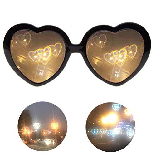 1 pieza de forma de corazón 3D efecto especial gafas de dibujos animados gris lentes con luces cambiantes a forma de corazón efecto especial color opcional gran regalo, negro