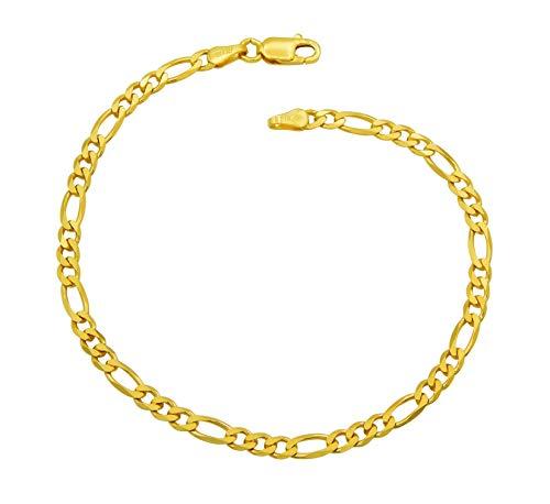 Damen Armband Figaro-Armband 925 Sterling Silber vergoldet 3,5mm breit Länge wählbar 17 18 18,5 19 20 cm Figarokette Gold Armkettchen Armkette (19)